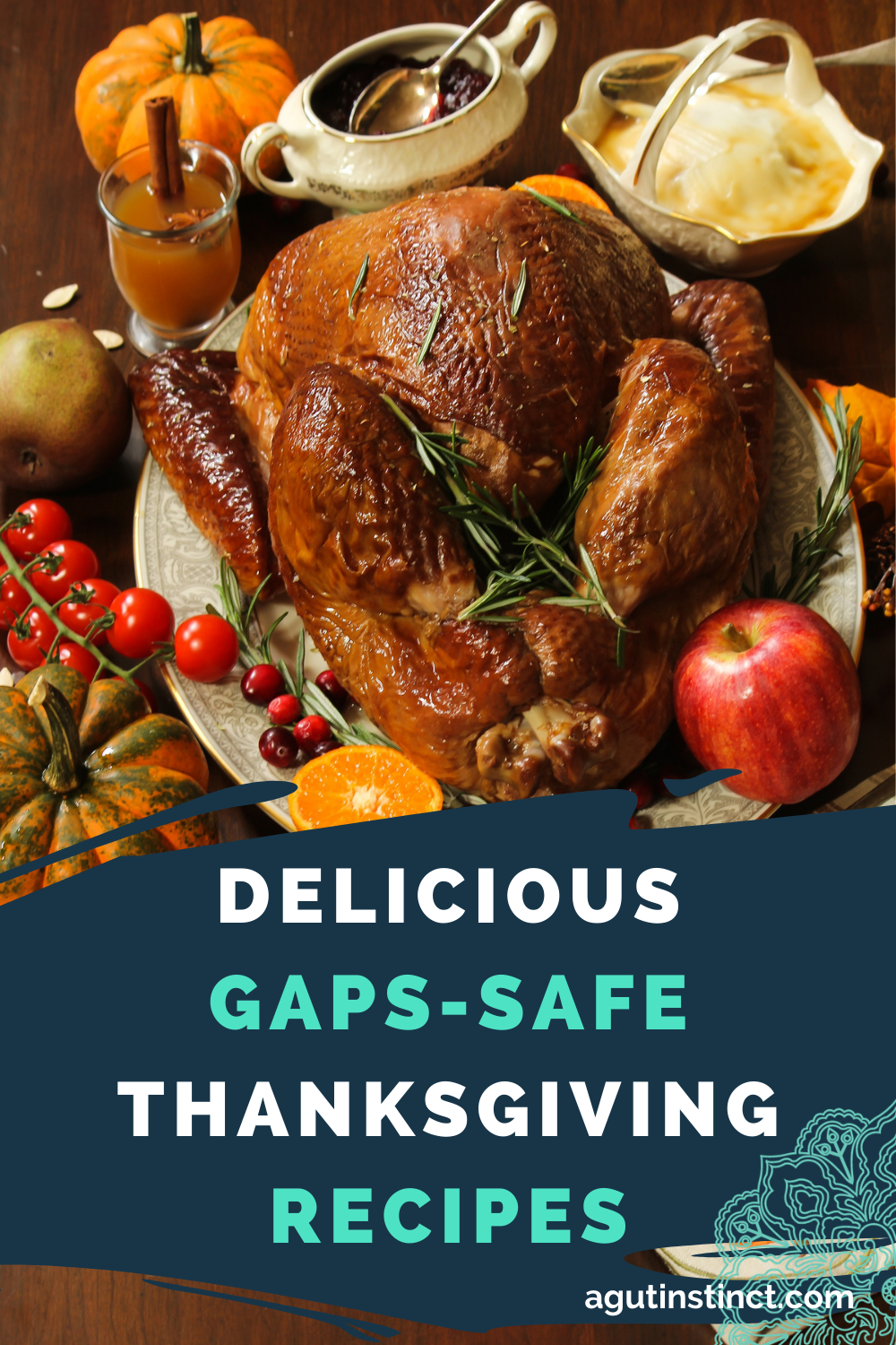 """The words """"GAPS Safe Thanksgiving Recipes"""" is written across a stripe of blue color overlaid on top of a photo of a delicious and healthy-looking meal of a whole roasted turkey"""