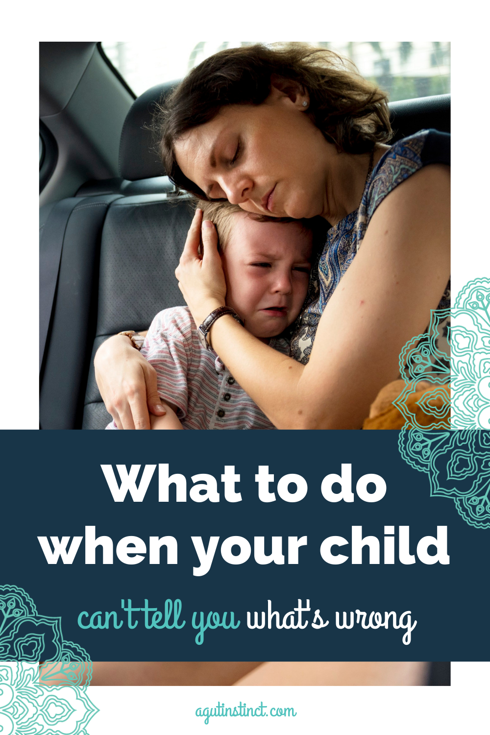 a mother consoling her child who is having a meltdown in his car seat while she waits it out