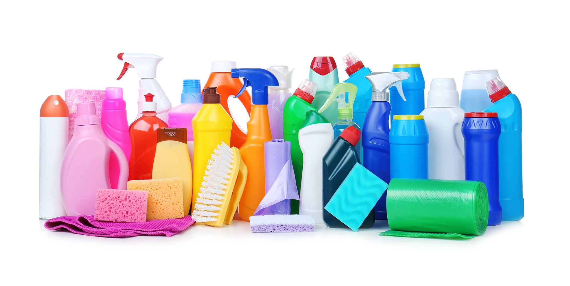 Different cleaning supplies on white background
