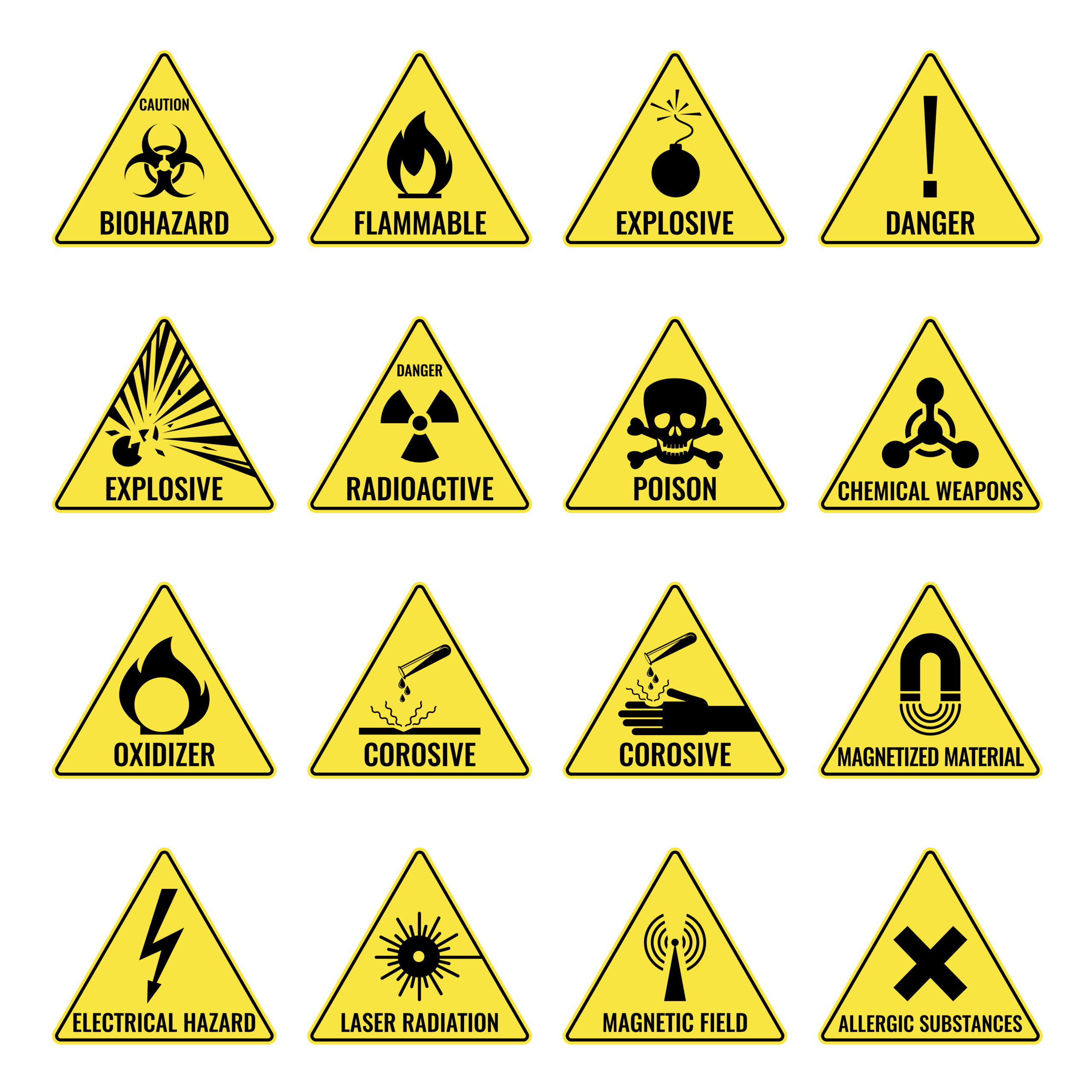 Hazard warning triangular yellow icon set on white. Vector colorful illustration of caution signs showing dangerous places or things